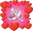 Wedding Ring,Ring,Heart Shape,Engagement Ring,Vector,Married,Diamond,Backgrounds,Love,Ilustration,Fashion,Relationship Difficulties,Togetherness,Bonding,Wedding,Platinum,Pink Color,White,Engraved Image,No People
