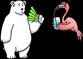 Bear,Arctic,Polar Bear,Flamingo,Heat - Temperature,Cartoon,Drinking Water,Water,Change,Drinking,Temperature,Fan,Ilustration,Bird,Pink Color,Climate,Folding Fan,Standing,Vector,Nature,Illustrations And Vector Art,Freshness,Endangered Species,Environment,Animals And Pets,Wild Animals,Concepts And Ideas,Animal,Wildlife,Concepts