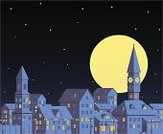 Roof,Night,Town,Clock Tower,Tower,Bell Tower,Old,City,House,Illuminated,Vector,Chapel,Cottage,Electric Lamp,Sky,Cityscape,Moon,Window,Star - Space,Ilustration,Architecture,Full Moon