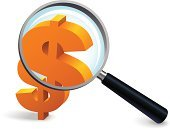 Magnifying Glass,Finance,Currency,Dollar Sign,Vector,White Background,Gold Colored,Discovery,Social Issues