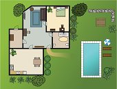 High Angle View,Swimming Pool,Flower Bed,House,Home Interior,Tree,Planning,Furniture,Architecture,Residential Structure,Indoors,Outdoors,Apartment,Domestic Kitchen,Vector,Domestic Room,Bedroom,Plant,Rural Scene,Grass,Mansion,Lot,Meadow,Built Structure,Design,Flooring,Non-Urban Scene,Green Color,Building - Activity,Wall,Inside Of,Construction Industry,Building Exterior,Arrangement,Conspiracy,Housing Project,Plan,Above,Ilustration,Residential District