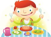 Eating,Child,Breakfast,Cartoon,Food,Table,Little Boys,Fork,Spoon,Vector,Eggs,Happiness,Cheerful,Apple - Fruit,Ilustration,Milk,Lettuce,Bread,Hungry,Orange - Fruit,Chair,Smiley Face,Glass,Food And Drink,Eating,Illustrations And Vector Art,Smiling,Vector Cartoons