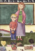 Teacher,Student,Embracing,Greeting,Education,Community,School Building,Classroom,Ilustration,Watercolor Painting,Teaching,Blackboard,Childhood,Front View,Lifestyle,Architecture And Buildings,Babies And Children,Looking At Camera,Learning,Five People,Elementary Age,Copy Space,Touching,Full Length