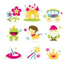 Princess,Fairy,Castle,Crown,Fairy Tale,Symbol,Flower,Glass Slipper,Vector,Magic,Magic Wand,Picture Book,Carriage,Garden Gnome,Frog Prince,Set,Midget,Ethereal,Fun,Dwarfed,Vector Icons,Concepts And Ideas,Illustrations And Vector Art