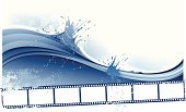 Wave,Water,Frame,Sea,Dirty,Film Industry,Backgrounds,Camera Film,Photograph,Surf,Summer,Wave Pattern,Photography,Banner,Grunge,Blue,Blank,Curve,Pattern,Drop,Blob,Design,Wind,Nature,Sky,Backdrop,Splattered,No People,Flowing Water,Negative,Horizontal,Air,Empty,Liquid