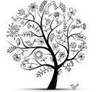 Tree,Silhouette,Bird,Flower,Butterfly - Insect,Branch,Cartoon,Leaf,Black Color,Nature,Summer,Nature Abstract,Vector Cartoons,Summer,Illustrations And Vector Art,Design,Nature