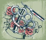 Tattoo,Rose - Flower,Knuckle,Brass Knuckle,Razor,Retro Revival,Flower,Old-fashioned,Gangster,Metal,Violence,Thorn,Work Tool,Razor Blade,Shaving,Weapon,City Life,Leaf,Plant,Steel,Equipment,Straight,Stainless Steel,Red,Antique,Old,Vector Icons,Illustrations And Vector Art,Sharp,Vector Cartoons,Shiny,Grunge,Iron - Metal,Aggression,Rusty,Crime