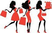 Shopping,Women,Teenage Girls,Silhouette,Fashion,Retail,Cartoon,Customer,Purse,Fashion Model,Cool,Red,Dress,Personal Accessory,Vector,Ilustration,Glamour,Clothing,People,Shopping Bag,Modern,Dress Shoe,Profile View,Elegance,Gift,Consumerism,Buying,Style,Package,People,Fashion,Illustrations And Vector Art,Characters,Vector Cartoons,Beauty And Health