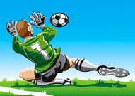 Soccer,Goalie,Soccer Player,Cartoon,Soccer Ball,Playing,Vector,Ilustration,Kicking,Soccer Field,Ball,Sport,Goal Kick,Penalty,Soccer Uniform,Balance,Caucasian Ethnicity,People,Grass,Sports Uniform,Competitive Sport,Number 1,Shooting at Goal,Competition,Professional Sport,Europe,Men,European Culture,Defending,Dribbling,One Person,Green Color,Skill,Athlete,Playing Field,Team Sport,Sports Training,International Team Soccer,Male,Sports Activity
