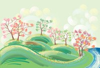 Forest,Pink Color,Sky,Summer,Multi Colored,Summer,Spring,Landscapes,Tree,Poppy,Lake,Nature