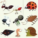 Insect,Fly,Ant,Cartoon,Mosquito,Worm,Housefly,gnat,Set,Cute,Vector,Snail,Spider,Ladybug,Animated Cartoon,Animal,Cockroach,Beetle,Humor,Drawing - Activity,Ilustration,Nature,Design,Collection,Isolated,Animals And Pets,Illustrations And Vector Art,Isolated Objects