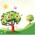 Tree,Apple Tree,Apple - Fruit,Orange - Fruit,Fruit Tree,Orange Tree,Butterfly - Insect,Vector,Leaf,Summer,Plant,Nature,Mountain,Illustrations And Vector Art,Nature Backgrounds,Panoramas,Nature,Vector Backgrounds