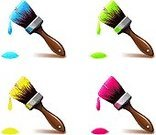 Brushing,Paintbrush,Paint,Painting,Splashing,Work Tool,Design Element,Repairing,Red,Green Color,Yellow,Restoring,Flat Brush,Blue,Isolated Objects,Isolated On White,Illustrations And Vector Art,Objects/Equipment,Ink,Liquid,Drop,Construction Industry