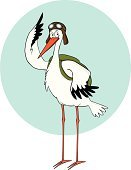 Stork,Pilot,Bird,Flying Goggles,Migrating,Cheerful,Cartoon,Wing,Animal,Cap,Wildlife,Animals And Pets,Birds,Hat,Illustrations And Vector Art,Vector Cartoons,Characters,Saluting,Backpack,Smiling,Standing