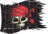Pirate,Human Skull,Flag,Skull and Crossbones,Torn,Distressed,Mascot,Black Color,Vector,Grunge,Bandana,Cartoon,Textured Effect,Damaged,Ilustration,Design,Scratched,Rough,Design Element,Danger,Power,Warning Sign,Colors,Concepts And Ideas,Illustrations And Vector Art,Aggression,Holidays And Celebrations,Vector Cartoons,Warning Symbol,Halloween