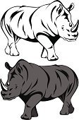 Rhinoceros,Africa,Vector,Animal,Safari Animals,Ilustration,Horned,Mascot,Black And White,White,Furious,Illustrations And Vector Art,Gray,One Animal,Wild Animals,Animals And Pets,Animals In The Wild,Nature,Wildlife,Black Color