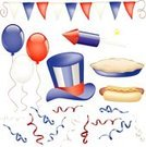 Apple Pie,Hot Dog,Balloon,Patriotism,Streamer,Red,White,Summer,Confetti,Party - Social Event,Pyrotechnics,Blue,American Culture,Hat,Top Hat,Celebration,Banner,USA,Fourth of July,Junk Food/Fast Food,Parties,Holidays And Celebrations,Food And Drink,Flag