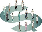 Healthcare And Medicine,costs,Hospital,Finance,Currency,Doctor,Medicare,Business,Isometric,Medicine,Paying,Insurance,Dollar,Dollar Sign,Occupation,Nurse,Ilustration,Women,Variation,Paramedic,Multi-Ethnic Group,Vector,Men,Lab Coat,High Angle View,Surgeon,White Background,Medical Insurance,green-blue,Suit,Turquoise,$