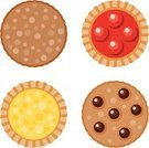 Cookie,Tart,Chocolate Chip Cookie,Ilustration,Chocolate Chip,Vector,Icon Set,Baked,Lemon,Food,Cherry,Color Image,No People,Four Objects