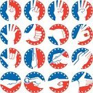 Human Hand,Thumb,Symbol,Patriotism,Star Shape,Praying,OK Sign,Human Finger,Computer Icon,Icon Set,Pointing,Clapping,American Culture,Sign Language,Silhouette,Coin,Color Image,Thumbs Down,Counting,Love,Isolated,Drawing - Activity,Writing,Paying,Thumbs Up,Pen,Vector,red white and blue,Isolated On White,A OK,Stop Gesture,Ilustration,Waving,Collection,Set,Election,Begging - Social Issue,Handshake,Vector Icons,USA,Illustrations And Vector Art