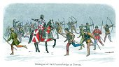 Longbow,Bow and Arrow,War,Archery,Civil War,Battle,Engraved Image,People,Woodcut,Old,Leadership,Medieval,Suit of Armor,Battlefield,Running,Knight,Clothing,English Culture,Snow,Fighting,Winter,Old-fashioned,Weapon,North Yorkshire,Royalty,Conflict,Pointing,UK,Military,The Past,Historical War Event,Lithograph,Bow,British Culture,Traditional Clothing,History,Cultures,Army,Yorkshire,Print,Circa 15th Century,Color Image,Middle Ages,England,Riding,Armed Forces,Antique
