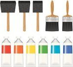Paint,Paintbrush,Tube,Icon Set,Craft,Acrylic Painting,Art,Oil Paint,Vector,Gouache,Isolated,Isolated On White,Foam Brush,Craft Supplies,Office Supply,Foam,No People,Ilustration,Scrapbooking