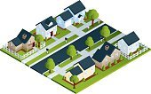 House,Isometric,Community,Residential District,Residential Structure,Street,Tree,Suburb,Directly Above,Garage,Road,Real Estate,Vector,Real Estate Sign,Grass,Mailbox,Mailbox,Wood - Material,Wealth,High Angle View,Luxury,Brick,Bush,American Culture,Picket Fence,Driveway,For Sale,Small Town America,Wood Paneling