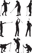 Golf,Silhouette,Recreational Pursuit,Leisure Activity,Golf Club,Golf Swing,Putting,Vector,Leisure Games,Male,People,Sport,Examining,Leaning,Full Length,Front View,playing golf,Isolated On White,Short Game,Power,Follow Through,Recreational Sports League,Ilustration,Men,Outdoor Pursuit,White Background,Walking,Pointing,Teeing Off,Multiple Image,Outline,Aiming,Professional Sport,Playing,Fun,Isolated,Clip Art,Side View,Black And White,Golf Practice
