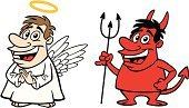 Devil,Angel,Cartoon,Positive Emotion,Halo,Evil,Obedience,Aspirations,Demon,Humor,Pitchfork,Cute,Spirituality,Hell,Heaven,People,Male,Saint,Religion,Death,Afterlife,Life,Lifestyles,Artificial Wing,Men
