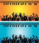 Orange,People,Crowd,Party - Social Event,Guitar,Blue,Silhouette,Illustration,Vector,Arts Culture and Entertainment