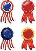 Badge,USA,Red,Label,American Flag,Holiday,Vector,Ilustration,Gold Colored,Star Shape,Copy Space,Holiday Symbols,Circle,Illustrations And Vector Art,Isolated On White,Ribbon,Striped,Fourh Of July,Holidays And Celebrations,America Holiday,Isolated,Design Element,Gold,Shiny,Blue