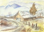 Nature,Landscapes,Spring,House,Landscape,Tree,Mountain,Forest,Watercolor Paints
