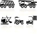 Tractor,Crane - Construction Machinery,Silhouette,Earth Mover,Construction Industry,Symbol,Digging,Construction Platform,Machinery,Vehicle Scoop,Computer Icon,Car,Vector,Land Vehicle,Transportation,Equipment,Industry,Black Color,White,Set,Mobility,Reflection