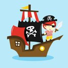 Pirate,Sailing Ship,Child,Brigantine,Little Boys,Cartoon,Characters,Adventure,Cheerful,Sail,Happiness,Sword