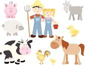 Farm,Horse,Animal,Pig,Livestock,Farmer,Cartoon,Sheep,Cute,Chicken - Bird,Goat,Duck,Rooster,Ilustration,Baby Chicken,Vector,Animal Themes,Women,Men,Happiness,Fun,Domestic Animals,Cheerful,Characters,Vibrant Color,Vector Cartoons,Farm Animals,Bright,Pitchfork,Design Element,Illustrations And Vector Art,Animals And Pets,Agriculture,Isolated,Smiling,Pastel Colored