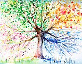Watercolor Painting,Tree,Flower,Season,Four Objects,Winter,Abstract,Autumn,Backgrounds,Branch,Springtime,Nature,Leaf,Ilustration,Green Color,Time,Summer,Snow,Craft,Painted Image,Multi Colored,Year,Blossom,Snowflake,Growth,Red,hand-painted,Orange Color,Nature,Nature Symbols/Metaphors,Yellow,Beauty In Nature,Flower Head,Plant,Cold - Termperature