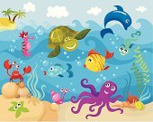 Underwater,Cartoon,Sea,Octopus,Fish,Crab,Turtle,Animal,Vector,Aquatic Mammal,Aquatic Reptile,Water,Cute,Seafood,Set,Life,Animals In The Wild,Art,Sea Life,Aquatic,Nature,Nature,Ilustration,Animals And Pets,Illustrations And Vector Art