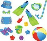 Toy,Snorkel,Diving Flipper,Beach Ball,Child,Collection,Summer,Shoe,Face Guard - Sport,Sandal,Ilustration,Sunglasses,Little Boys,Swimwear,Shovel,Equipment,Bucket,Set,Personal Accessory,Diving Equipment,Vector,Slipper,Design Element,Isolated Objects,Single Object,Hat,Illustrations And Vector Art,Flip-flop,Objects/Equipment,Cute,Computer Graphic