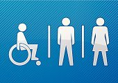 Toilet,Symbol,Men,Public Restroom,Women,Domestic Bathroom,Male,Disabled,Female,Physical Impairment,Wheelchair,People,Sign,Vector,Gender Symbol,Human Gender,Shape,Computer Graphic,facility,White,Teenage Girls,Little Girls,Baby Girls,Arts Symbols,Vector Icons,Arts And Entertainment,Illustrations And Vector Art,Ilustration,Shiny