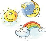Moon,Sun,Cartoon,Rainbow,Star - Space,Human Face,Cloud - Sky,Day,Night,Star Shape,Multi Colored,Happiness,Drawing - Art Product,Sky,Weather,Cloudscape,Rain,Shiny,Summer,Sketch
