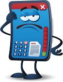 Mobile Phone,Cartoon,Characters,Electrical Equipment,Illness,Communication,Energy,Ilustration,Vector,White Background