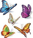 Butterfly - Insect,Flying,Set,Wing,Cute,Springtime,Multi Colored,Decor,Nature,Insects,Illustrations And Vector Art,Animals And Pets,Insect,Season,Nature