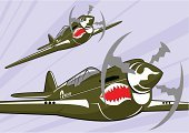 Airplane,Fighter Plane,Retro Revival,World War II,Military,Air Vehicle,Propeller,Old,Wing,Aggression,War,Illustrations And Vector Art,Air Force,Obsolete,Flying