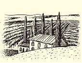 Tuscany,Vineyard,Italy,Sketch,Landscape,House,Drawing - Art Product,Villa,Farm,Woodcut,Hill,Rural Scene,Landscaped,Vine,Village,France,Engraved Image,Field,Retro Revival,Ilustration,Old-fashioned,Grape,Summer,Winery,Valley,Vector,Pencil Drawing,Tree,Agriculture,Leaf,Backgrounds,Painted Image,Pencil,Nature,Land,Plant,Crop,Ink,Outdoors,Food Backgrounds,Computer Graphic,Illustrations And Vector Art,Food And Drink,Alcohol