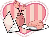 Mothers Day,Croissant,Holidays And Celebrations,Rose - Flower,Greeting Card,Heart Shape