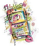 Mobile Phone,Telephone,Doodle,Smart Phone,Art,Incomplete,On The Phone,Variation,Drop,Information Medium,Vector,Drawing - Art Product,Painted Image,Ilustration,Human Mouth,Keypad,Multi Colored,Arts And Entertainment,Business Symbols/Metaphors,Electronics,Business,Electronic Organizer,Technology,Visual Screen,Stained,Arts Abstract