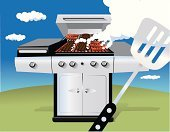 Barbecue Grill,Barbecue,Grilled,Broiling,Smoke - Physical Structure,Hamburger,Dinner,Hot Dog,Spatula,Outdoors,Appliance,Summer,Fast Food,Blue,Stainless Steel,Illustrations And Vector Art,Cooking,Objects/Equipment,Sky,Grass,Steam,Food And Drink,Lunch,Food,Household Objects/Equipment,Fluffy