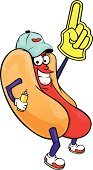 Hot Dog,Cartoon,Snack,Baseball - Sport,Ilustration,Beef,Humor,Mascot,Sausage,Food,One Finger,Bun,Fast Food,Smiling,Isolated Objects,Meat,Cheerful,Gesturing,Greeting,Meal,Cap,Food And Drink,American Culture,Mustard,Illustrations And Vector Art,Cute,Vector
