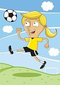 Sport,Ball,Cheerful,Soccer,Running,Smiling,Kicking,Healthy Lifestyle,Fun,Playing,Child,Illustration,Soccer Shoe,Cartoon,Sports Clothing,Females,Girls,Cleats,Vector,Soccer Ball,Kids' Soccer