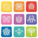 Firefly,Butterfly - Insect,Flower,Single Flower,Symbol,Iris,Lace - Textile,Sunflower,Computer Icon,Interface Icons,Tree,Pansy,Sun,Icon Set,Ladybug,Ornate,Daisy,Square Shape,Vector,Computer Bug,Insect,Set,White,Tulip,Environment,Multi Colored,Springtime,Environmental Conservation,Summer,Vector Icons,Green Color,Isolated,Summer,Nature,Flowers,Swirl,Illustrations And Vector Art,Nature,Beauty In Nature